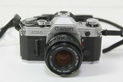 Canon Ae-1 Slr 35Mm Film Camera Fd 50Mm 1:1.8 Lens For Parts