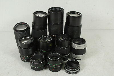 10 Assorted Vintage Camera Lenses Untested Lot
