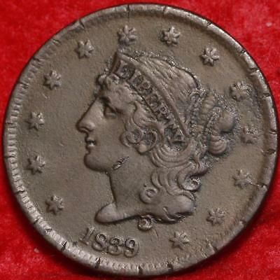 1839 Philadelphia Mint Copper Coronet Head Large Cent Free S/H