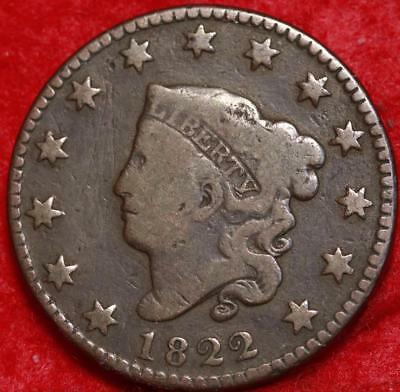 1822 Philadelphia Mint Copper Coronet Head Large Cent Free S/H