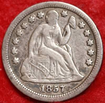 1857 Philadelphia Mint Silver Seated Liberty Quarter Free Shipping