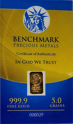 5 Grains Gold Bar Pure .999 Gold Bar Benchmark Elemental Gold Bullion-Sealed Usa