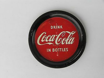 Rare Old Drink Coca-Cola Tin Circle Plate Tray Coaster Pad For Cup Or Bottle
