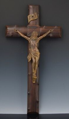 Vintage FRENCH CHURCH THORN WOOD WALL CRUCIFIX w SIGNED GILDED SPELTER Corpus NR