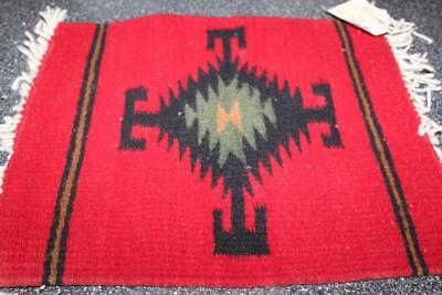 Vintage 12X14 Red Wool Woven Zapotec Rug Mat Textile Hand Made Oaxaca Mexico