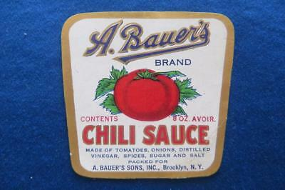Vintage Can label A. Bauer's Brand Chili Sauce Brooklyn New York