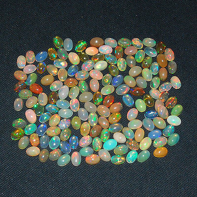 147 Pcs ~6mm/4mm~ Untreated AAA Natural Ethiopian Opal Lot ~Strong Color Play