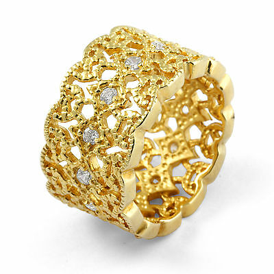 Round Eternity Cubic Zirconia Wedding Band Gold Plated Sterling Silver Ring SZ 6