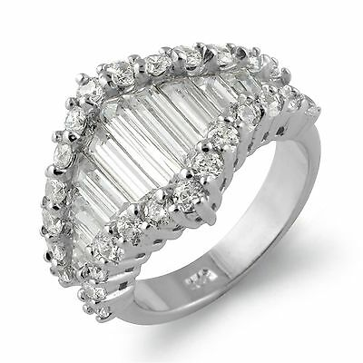 Baguette Round Cubic Zirconia Anniversary Wedding Band Ring Sterling Silver SZ 7