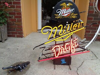 """Vintage 1996 Neon Concepts """"miller Draft"""" Lighted Advertising Sign Working Good"""