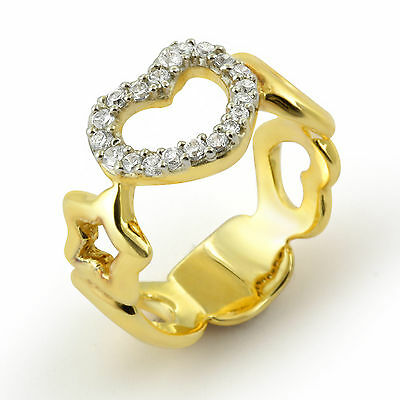 Heart Style Gold Plated Wedding Band Ring Cubic Zirconia Sterling Silver SZ 6