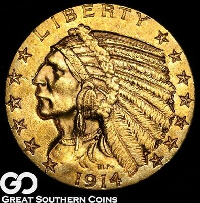 1914-D Half Eagle, $5 Gold Indian, Brilliant Uncirculated++, Nice! ** Free S/H
