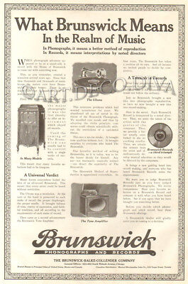 Antique 1920 BRUNSWICK Phonograph Record Player MUSIC Amp Ultona Art Deco Ad