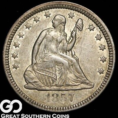 1857 Seated Liberty Quarter, AU++/Uncirculated Tougher Silver