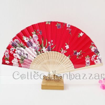 Red Chinese Bamboo Folding Silk Floral HAND FAN for Wedding Party Gift