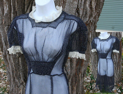 Vtg 30s Art Deco Sheer Dotted Swiss Dress Frock w Pleated Organdy Trim