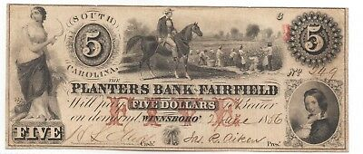 Very Nice Circulated Planters Bank of Springfield 1856 $2 Note(South Carolina)