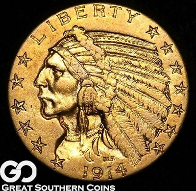 1914-S Half Eagle, $5 Gold Indian, Choice AU++/Uncirculated Key Date, Gorgeous!