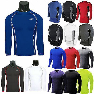 Mens Compression Under Base Layer Tops Tight Long Sleeve T-Shirts Sports Workout