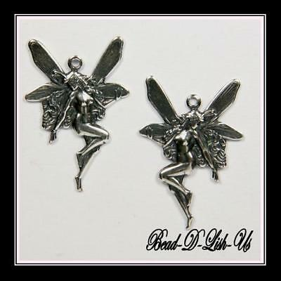 1 pair Antique Silver Plated FAIRY earring necklace Charms  VICTORIAN Findings