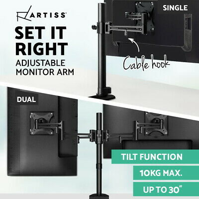 Artiss Dual Monitor Arm Single Stand Mount LCD LED HD Computer Screen Desk Black
