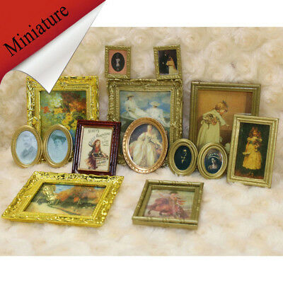 1:12 Dollhouse Miniature Retro Framed Wall Painting Home Decor Room Accessory