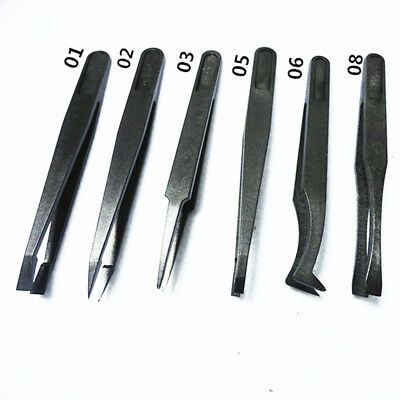 Size 1/2/3/5/6/8 Black 6PCS Precision Tweezer Set Plastic Anti Static Tool Kit U