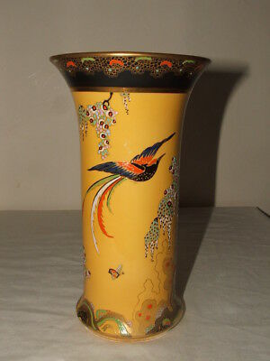 Carlton Ware Art Deco Yellow Paradise Bird & Tree Vase  So Rare & Stunning
