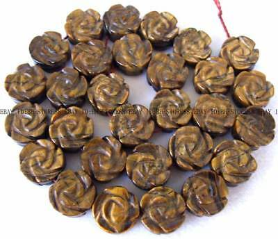 14mm Natural Yellow Tiger's Eye Coin Carved Gemstone Beads 15''