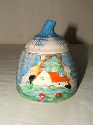 Clarice Cliff Art Deco Forest Glen / Newlyn Bee-Hive Jam-Pot Truly Stunning