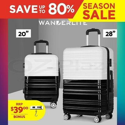 Wanderlite 2pc Luggage Sets Suitcase Free Scale Set TSA Hard Case Lightweight