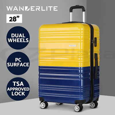Luggage Suitcase Trolley TSA Travel Carry On Bag Hard Case Lightweight PC Yellow