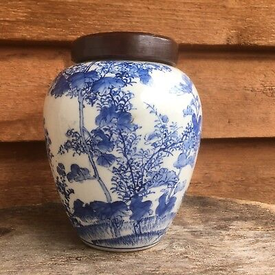 Chinese 18th/19th Century Porcelain Blue & White Bird Jar with Wooden Cover - AF
