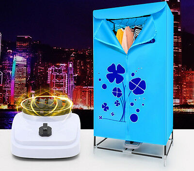 Blue Portable Mute Home Energy-saving Rotary Switch Electric Air Clothes Dryer..
