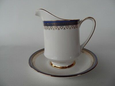 Vintage Paragon Sandringham Blue Gold Jug & Under Saucer   Made In  England