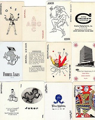 """12 Different RARE VINTAGE """"Great"""" JOKER Playing Cards #302"""