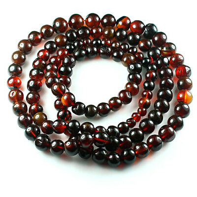 29.61g 100% Natural Mexican Blood Red Amber Bead Bracelet Necklace CSFb484