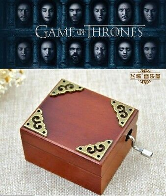 Vintage Wooden Hand Crank Mirror Music Box  ♫ GAME OF THRONES ♫