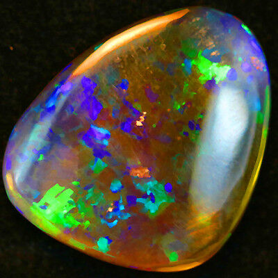 7.87ct Strong Body.Multicolor Splashes! Chaff Pattern Solid Semi Black Welo Opal