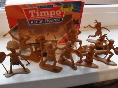 timpo boxed action figures, solid, indians, wild west