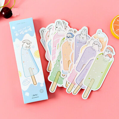 "30Pcs/box Cute Style ""Cool Rabbit Eating ice cream"" Paper Bookmarks Message Card"