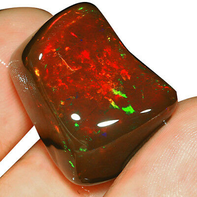 24CT Natural Polished Ethiopian Black Chocolate Opal Nugget Carved Cab WMQg30