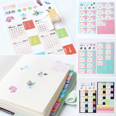 Lots 2018 Calendar Sticker Notebook Diary Planner Monthly Label Decoration