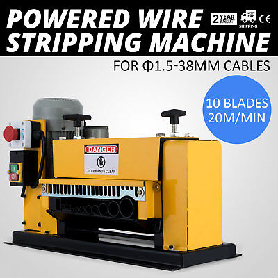 Powered Wire Stripping Machine 1.5-38mm 10 Blades Stripper Metal Cable Scrap
