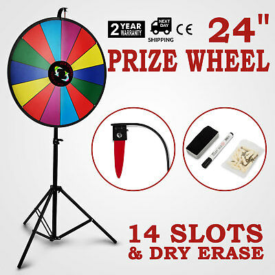 "24"" Tabletop Color Prize Wheel Spinnig Game Folding Tripod 14 Slots Dry Erase"