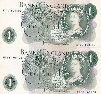 £1 Page B322 Consecutive Pair EY33 100408/9 (GEF)