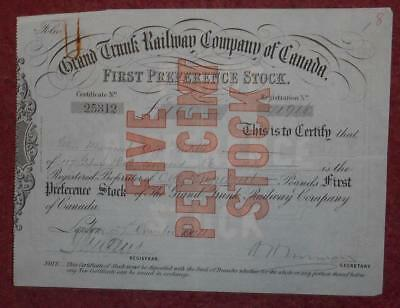 31355 CANADA 1902 Grand Trunk Railway...Canada 5% First Preference Stock cert.