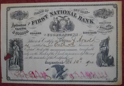31357 USA 1900 First National Bank of Cooperstown share certificate