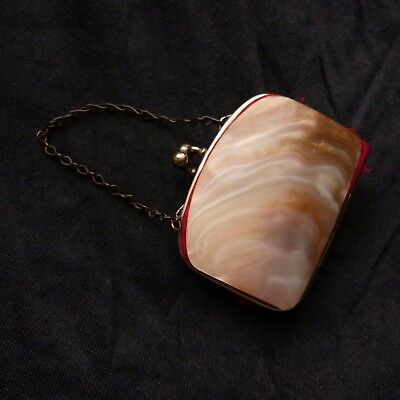 Antique Vintage Mother Of Pearl Miniature Wallet Purse Coins Holder