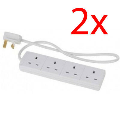 Set Of 2 4 Way Gang 5M Meter Extension Lead Cable 13Amp Plug Socket Home New Uk
